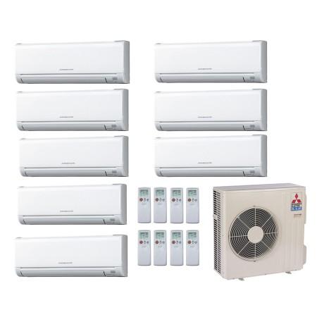 Mitsubishi 18,000 BTU 18 SEER Ductless Dual Zone Heat Pump System 6+6