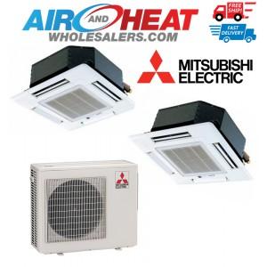 Mitsubishi 18,000 BTU 18 SEER Dual Zone Cassette Heat Pump System 9+9