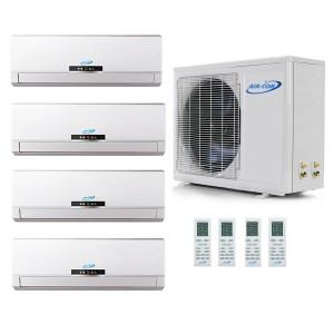 Air Con 42,000 BTU 16 SEER Ductless Five Zone Heat Pump System 9K+9K+12K+12K